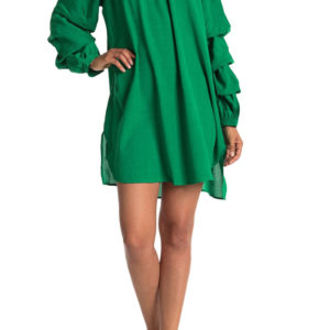 elastic neck kelly green tunic dress with ruffle sleeves- front