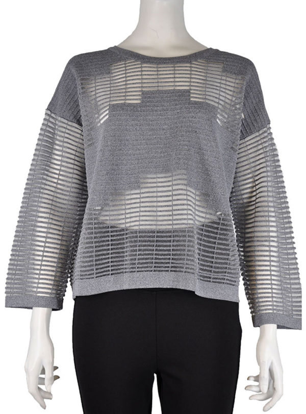 MESH INSERT CUT OUT GREY SWEATER