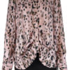 ANIMAL PRINTED FRONT PLEAT PINK BLOUSE