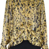 ANIMAL PRINTED FRONT PLEAT YELLOW BLOUSE
