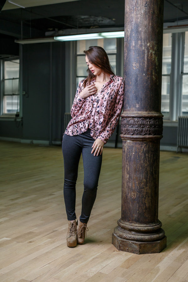 PINK ANIMAL PRINT FRONT PLEAT BLOUSE