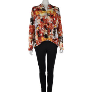 RUST PRINTED FRONT PLEAT TOP