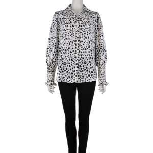 white and black print blouse with smock sleeve detail