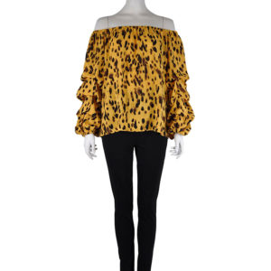 animal printed yellow elastic neck top