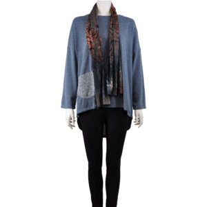 BLUE LONG SLEEVE TOP WITH CONTRAST OPTIONAL SCARF