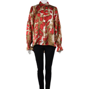 SNAKE PRINTED BELL SLEEVE RED BLOUSE
