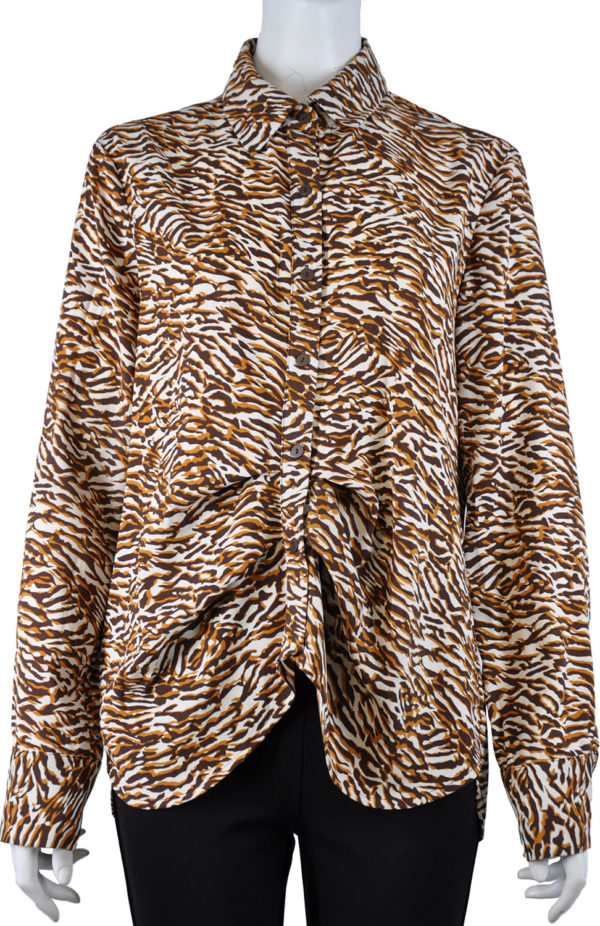 PRINTED FRONT PLEAT BROWN BLOUSE