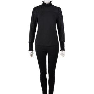 high neck smock sleeve long sleeved black top