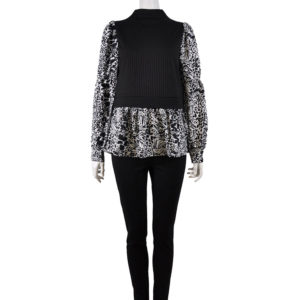 PRINTED BLACK AND WHITE LONG SLEEVE TWOFER LAYERED TOP