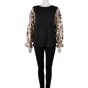 BLACK TOP WITH ANIMAL PRINTED CONTRAST BELL SLEEVE TOP