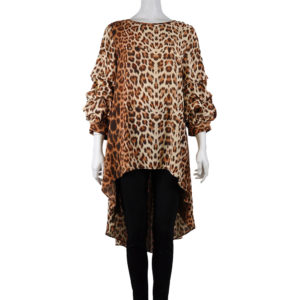 CAMEL CHEETAH PRINTED HIGH LOW TOP WITH RUFFLE SLEEVES
